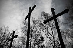Three crosses. Hill situated in Karlovy Vary, the Czech Republic Royalty Free Stock Photos