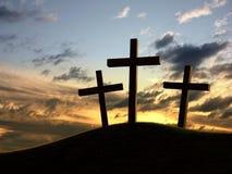 Three crosses stock photography