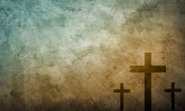 Three crosses. Three christian crosses on vintage texture Stock Photography