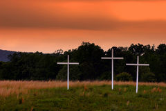 Three Crosses. In a rural Georgia field stock images