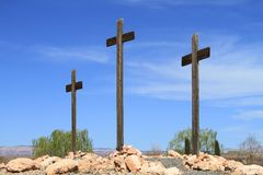 USA, Arizona/Cottonwood: Three Wooden Crosses Royalty Free Stock Photos