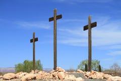 USA, Arizona/Cottonwood: Three Wooden Crosses Royalty Free Stock Photos