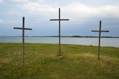 Three crosses. Overlook Lake Lavon near Dallas, Texas Royalty Free Stock Images