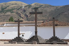Three Crosses. Above the town Cuzso in Peru Stock Photography