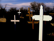 Three crosses. At the cemetery Stock Photo