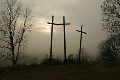 Three crosses. On the hill Royalty Free Stock Images