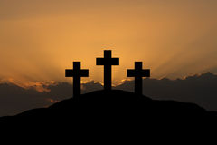 Three crosses. On Golgotha, symbolising Easter Royalty Free Stock Photography