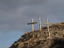 Three crosses. This is to remind us of the ultimate sacrifice jesus made to give us everlasting life Stock Photography