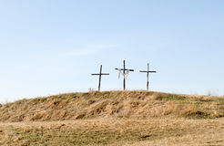 Three crosses. On hilltop symbolizing the crucifixion Royalty Free Stock Photography