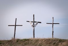 Three Crosses. On hilltop symbolizing the crucifixion Stock Image