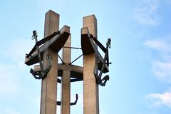 Three Crosses with anchors, a monument to the fallen workers of shipyard at Solidarnosti Square in Gdansk. Gdansk, Poland .19 January 2019. Three Crosses with royalty free stock photo