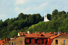 Three Crosses on Bleak Hill, a monument in Vilnius, Lithuania. Royalty Free Stock Photo