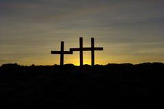 Three crosses on Calvary stock photography