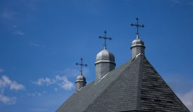 Three crosses on a country church. Royalty Free Stock Photo
