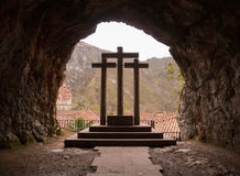The three crosses in Covadonga, Asturias. Stock Photo
