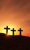 Three crosses at dawn Royalty Free Stock Photo