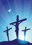 Three crosses with dove Stock Photo