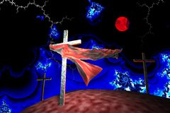 Three crosses in fractal storm. A piece of cloth caught on a cross in fractal storm royalty free illustration