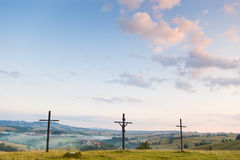 Three crosses on hill Royalty Free Stock Photography