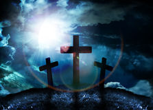 Three crosses on a hill Royalty Free Stock Image