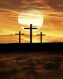 Three crosses on a hill. With a large sun casting shadows over the landscape Stock Photos