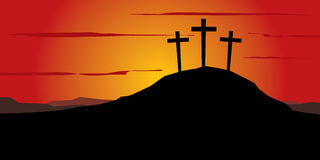 Three crosses on the hill. Three crosses on the calvary hill. Sunset behind. Light against the darkness Royalty Free Stock Photography