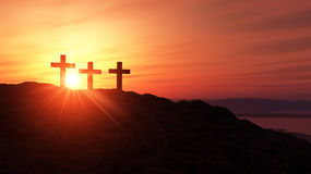 Three crosses on an hill 2 Stock Photography