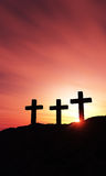 Three crosses on an hill Stock Photo