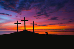 Three crosses on a hill Stock Image