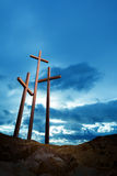 Three crosses on a hill Stock Photo