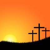 Three crosses on a hill vector Royalty Free Stock Image