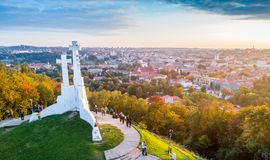 Three crosses hill in Vilnius. Beautiful Europe town Vilnius from above aerial Royalty Free Stock Image