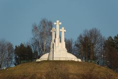 Crosses on a hill. Three crosses hill in Vilnius stock image