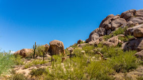 Three Crosses on a Hillside in the Arizona Desert Royalty Free Stock Images
