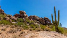 Three Crosses on a hillside in the desert Stock Images