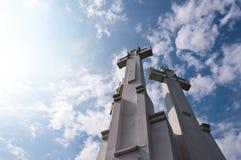Three Crosses Monument. On the Bleak Hill in Vilnius, Lithuania Stock Photo