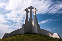 Three Crosses Monument on the Bleak Hill in Vilnius, Lithuania Royalty Free Stock Photography