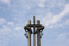 Three crosses, a monument to the solidarity political movement Royalty Free Stock Images