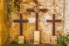 Three crosses on Mount Golgotha Stock Photography