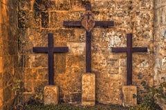 Three crosses on Mount Golgotha Royalty Free Stock Photography