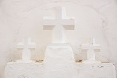 Three Crosses nearby the church Royalty Free Stock Photos