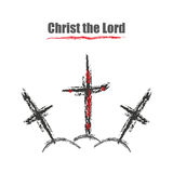 Three crosses one in blood of a Christ the Lord Stock Photos