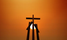Three crosses over bright clear sky Royalty Free Stock Photography