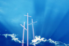 Three crosses over bright dramatic sky Stock Images
