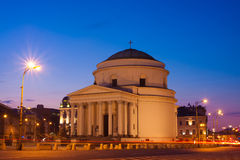 Three Crosses Plaza in Warsaw in the evening Royalty Free Stock Photography