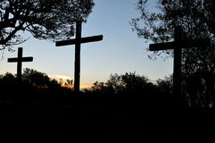 Three crosses silhouette Stock Images