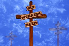 Three Crosses, Sin, Sickness, Need Royalty Free Stock Photo