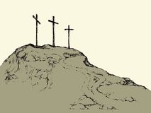 Three crosses stand on  light sky backdrop. Three historic jew old tomb roods. Traditional lent crucified scene isolated on white backdrop. Outline black ink Royalty Free Illustration