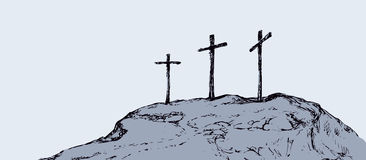Three crosses stand on  light sky backdrop. Three historic jew old tomb roods. Traditional lent crucified scene isolated on white backdrop. Outline black ink Stock Image