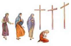 Free Three Crosses Stand On  Light Sky Backdrop Stock Photography - 158152932